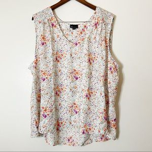 JNY | Floral Sleeveless Blouse Shoulder Ruching